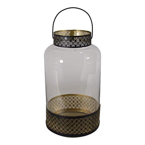 Lesli Living Laterne Windlicht ø20x37cm orientalisch Glas und Metall