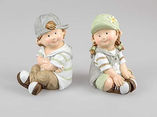 Sommerkinder Gartenfiguren sitzend 20 cm hoch im 2er Set Franz und Greta 581