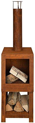 Esschert Design Terrassenofen mit Holzlager, in Rost Optik, 38,4 x 38,4 x 136,3 cm,...