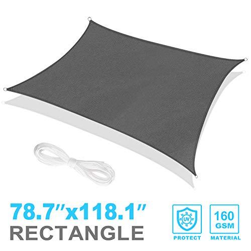 RATEL Sonnensegel 2x3 m graues Rechteckig, wasserdicht Windschutz mit 95% UV Schutz Sonnenschutz...