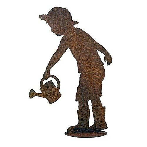 Garten Figur auf Platte - Material: Rost - Kind mit Gießkanne - Höhe 98cm - Hochwertige Gartendeko