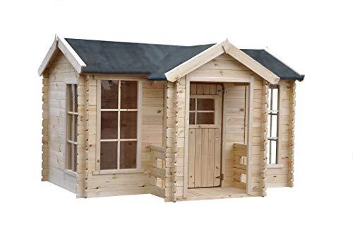 TIMBELA M520 Kleines Haus mit Terrasse - Massiv-Holz - Gartenhaus im Freien - Dicke 19 mm, H151 x...
