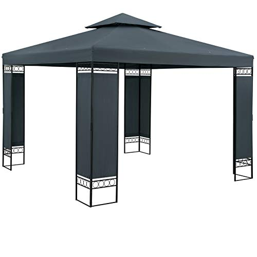 Casaria Pavillon Lorca 3x3m Anthrazit Stabil Wasserabweisend Robust Metall Luxus Gartenpavillon...