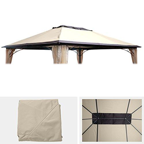 Mendler Ersatzbezug 365x265cm für Dach Pergola Pavillon HWC-C44 3x4m, Creme