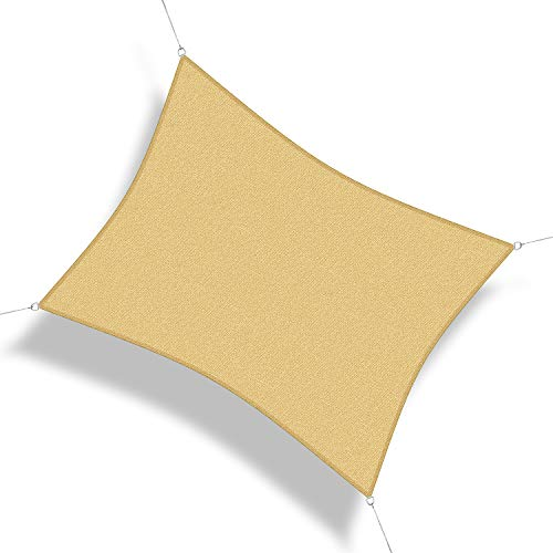 Corasol 160233 Premium Sonnensegel, 7 x 5 m, Rechteck, Wind- & wasserdurchlässig, sandbeige