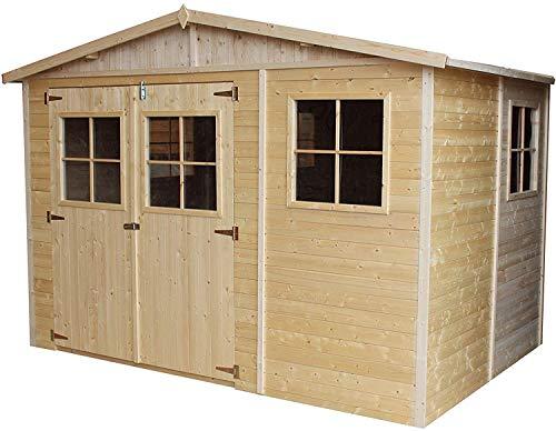 TIMBELA Holz Gartenschuppen - Abstellkammer mit Fenstern - H226x318x220 cm/6 m²...