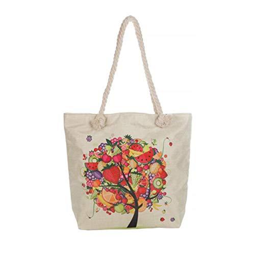 FENICAL Mode Canvas Tasche Obst Baum Druck Tasche frischen Stil Handtasche lässig Einkaufstasche...