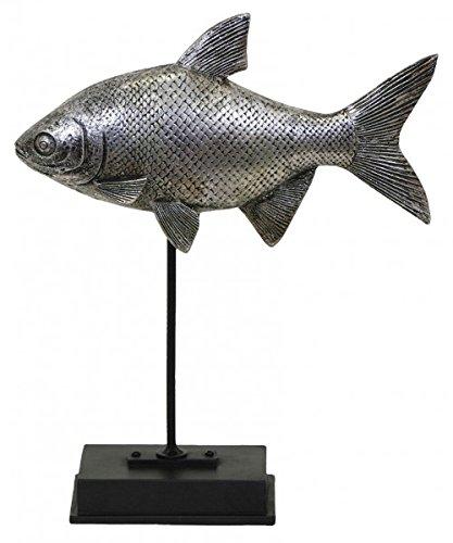KUHEIGA Deko - Figur Fisch 22x7x26,5 cm Figur Gartenfigur Dekofigur auf Ständer Fische