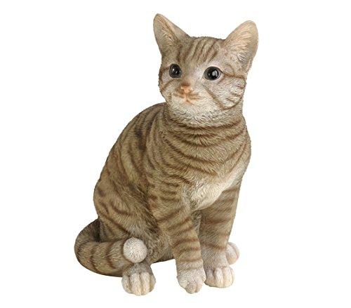 Dehner Dekofigur Katze getigert, ca. 31 x 25 x 17 cm, Polyresin, grau