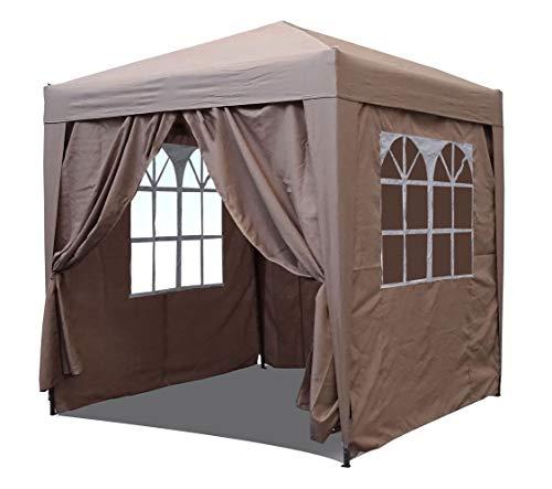 QUICK STAR Pop-Up-Pavillon, 2,5 x 2,5 m, Beige mit 4 Easy-Klett Seitenwänden mit 2...