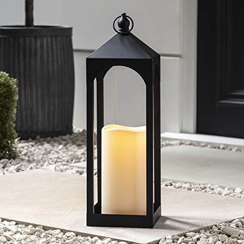 Lights4fun Metall Laterne Outdoor mit LED Kerze batteriebetrieb Timer 50cm