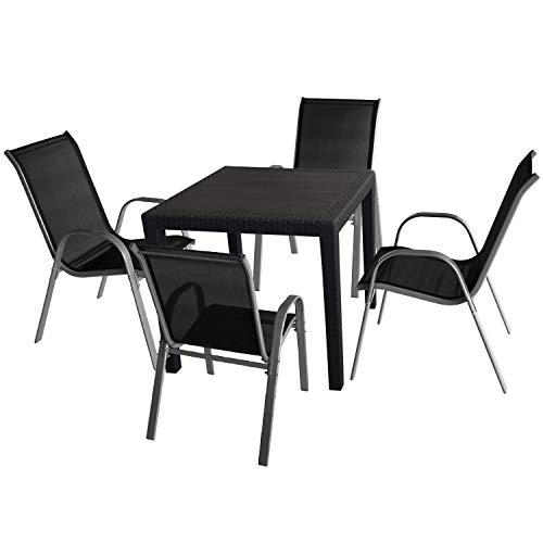 5tlg. Gartenmöbel Set Gartentisch in Rattan-Optik 79x79cm Kunststoff + 4x Wohaga® Stapelstuhl mit...