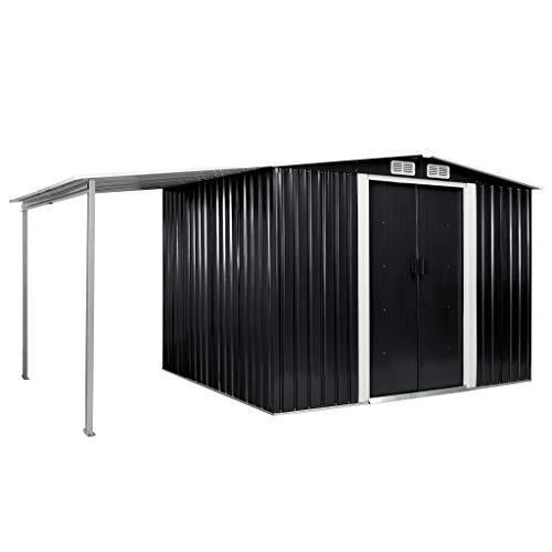 FAMIROSA Gerätehaus mit Schiebetüren Anthrazit 386×205×178 cm Stahl