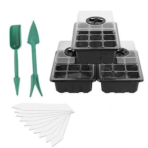 HO2NLE 3 Pack Zimmergewächshaus Anzucht Set Kunststoff Anzuchtschalen Setzling Starter Tabletts mit...
