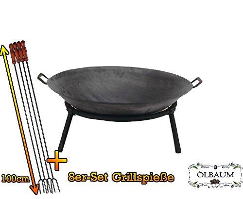 ÖLBAUM Feuerkorb Feuerschale, groß 60 cm mit Standring und 2 x Griffe für Grill und Spieß aus...