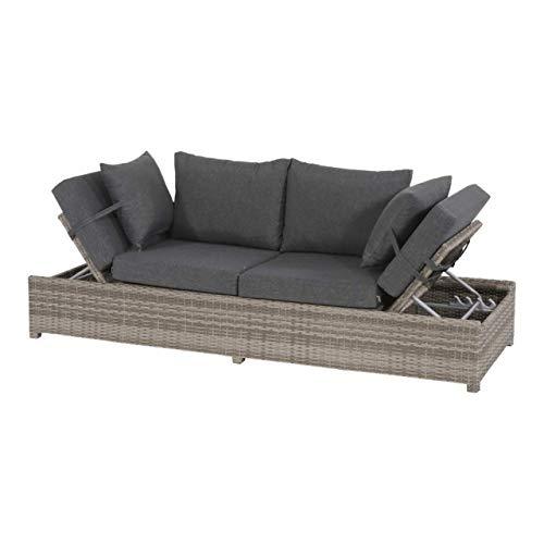 Lesli Living Loungebank Roma Cloud Polyrattan Funktionsliege Gartenliege Gartenbank Loungeliege...