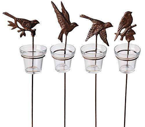 Esschert Design 3 Stück Gartenlicht, Teelichthalter Motiv Vögel, mit Erdstab und Glaseinsatz,...