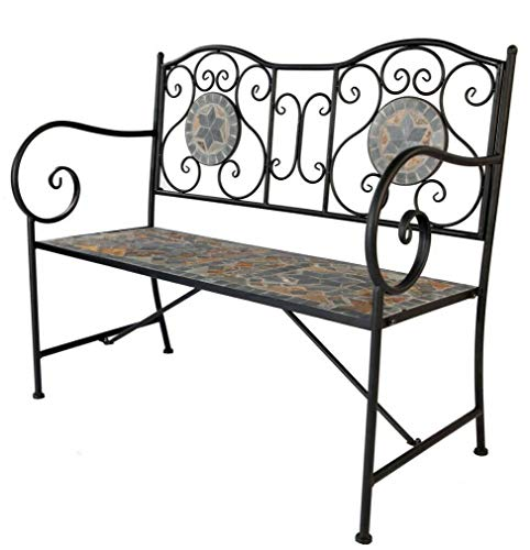 Design Mosaik Keramik Gartenbank Parkbank Eisenbank Design 'Kreta' 108x54x90cm klappbar