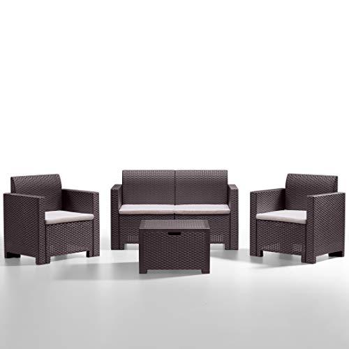 BICA Gartenmöbel Set Nebraska 2, Lounge 4 Plätze, Braun, Rattan Design