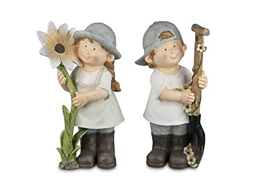 Sommerkinder Gartenfiguren stehend mit Blume und Schaufel 36 cm hoch im 2er Set Felix und Suse 316