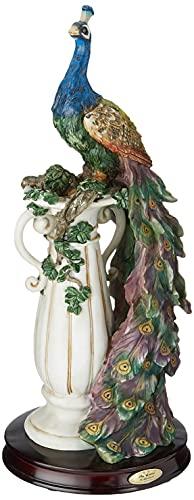 Design Toscano Das Heiligtum des Pfaus Dekostatue, Polyresin, vollfarbe, 43 cm