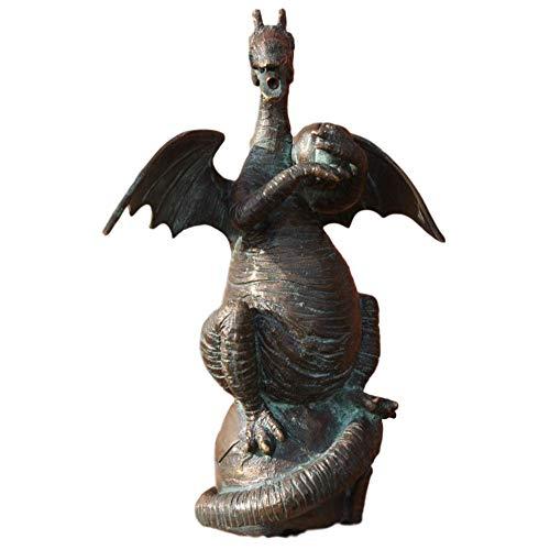 Steinfiguren Horn Bronzedrache mit Wallnuss