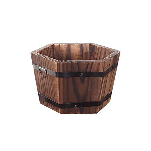 DEI Blumentöpfe mit Drainageloch, karbonisiertes Holz, Pflanzkübel für Haushalt, Garten,...