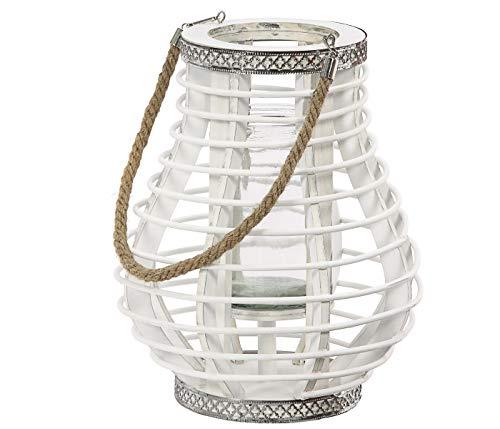Dehner Rattan-Laterne Hazel, Ø 24.5 cm, Höhe 30 cm, Rattan/Glas/Metall, weiß/silber