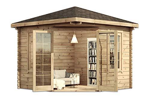 Alpholz 5-Eck Gartenhaus Victor aus Massiv-Holz | Gerätehaus mit 44 mm Wandstärke | Garten...