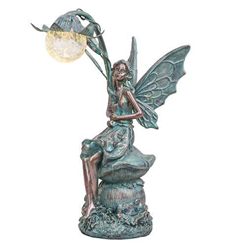 TERESA'S COLLECTIONS Sitzende Elfen Gartenfiguren Solar Glaskugeln Beleuchtung 35cm Engel Statue aus...