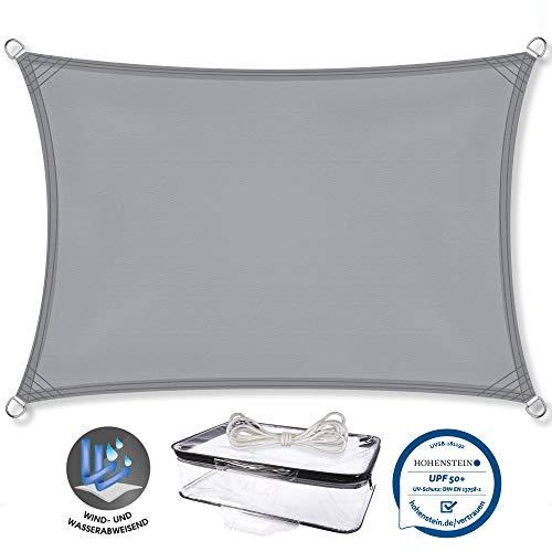 CelinaSun Sonnensegel PES Rechteck 3,5x4,5m hell grau UPF 50+ Sonnenschutz inkl Befestigungsseile