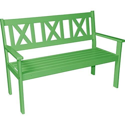 Lesli Living Gartenbank Parkbank Sitzbank Bank 3 Sitzer Kiefernholz grün lackiert 129 cm