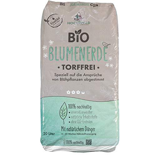 Hochwald - Bio Blumenerde 20 L torffrei mit nachhaltigem Langzeitdünger - Pflanzenerde mit Natur...