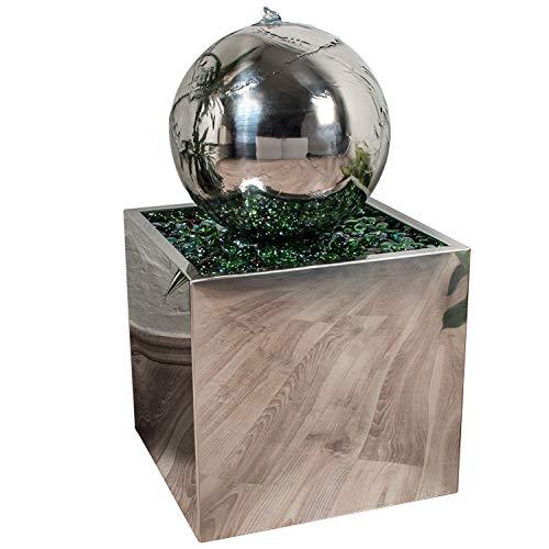 Köhko® Springbrunnen Ø 28 cm mit LED-Beleuchtung in eckigen Edelstahlbecken hochglanzpoliert...