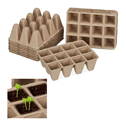 Relaxdays Anzuchttöpfe im Set, biologisch abbaubar, für Pflanzen, eckig, 204 Stück Pflanztöpfe,...