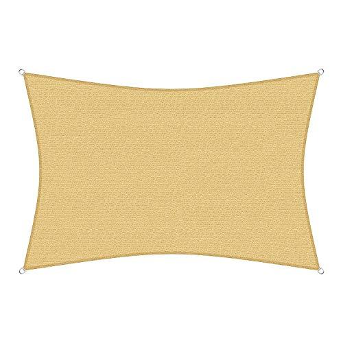 sunprotect 83230 Professional Sonnensegel, 6 x 4 m, Rechteck, Wind- & wasserdurchlässig, beige