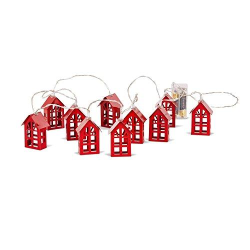 Loberon Lichterkette Coral, Weihnachtsdeko, Eisen, rot
