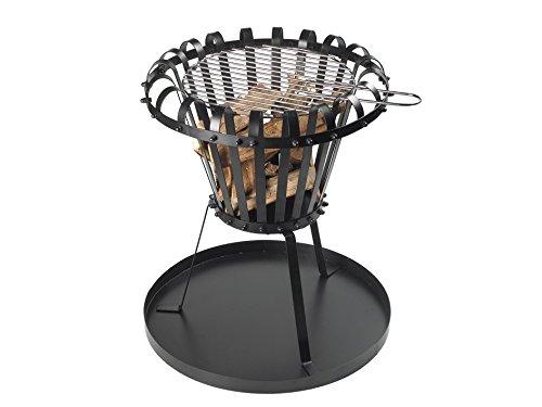 Feuerstelle für Garten und Terrasse aus Gusseisen - Feuerschale mit Grillrost schwarz - Gartenkamin...