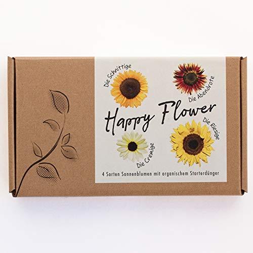 Blumensamen-Geschenkset'Happy Flower' - 4 Sorten Sonnenblumen im Geschenkkarton