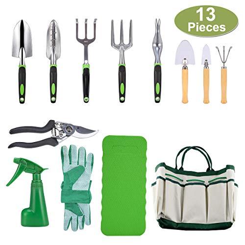 Crenova 10-teiliges Gartenwerkzeug-Set - Gartengeräte, Gartenschere, Gartenhandschuhe,...