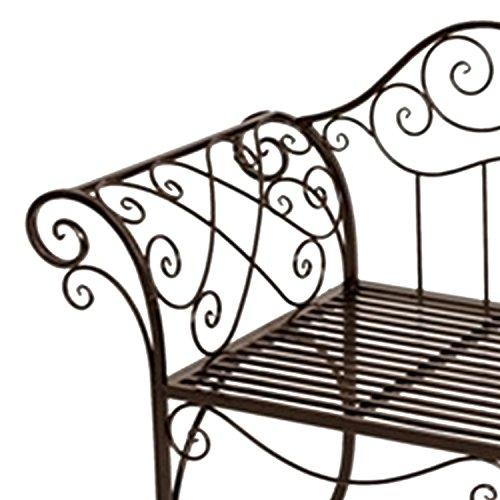 Mojawo Edle Gartenbank Sitzbank aus Eisen Antik Design Sitzbank im Landhausstil Farbe Braun