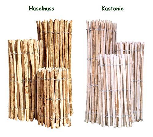 Nature LOUNGE Staketenzaun Haselnuss 150 x 500 cm (Lattenabstand 7-9 cm) - Staketen Rollzaun...