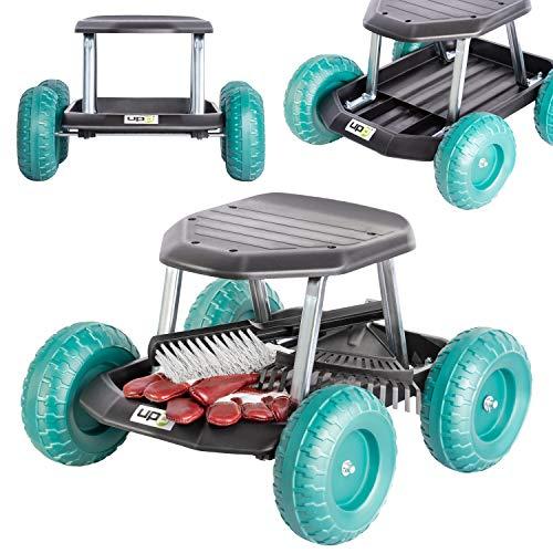 UPP Gartenwagen Rollsitz bis 130 kg mit Ablage für kleine Gartengeräte   Sitzhöhe 33 cm   Knie-...
