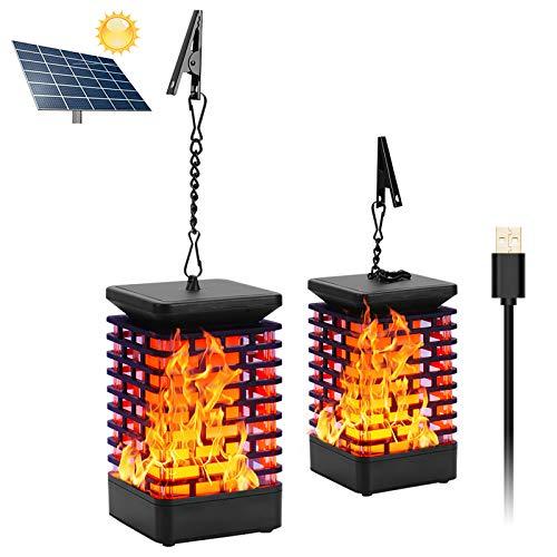 Solar Laterne Flammenlicht USB Wiederaufladbar Garten Hängelaterne Outdoor Solarleuchte Flammen...