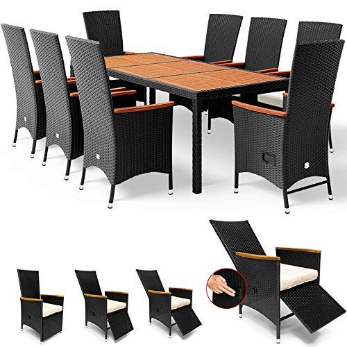 Deuba Poly Rattan Sitzgruppe 7cm Auflagen Fuß-/Rückenlehne Verstellbar 8 Stühle Gartentisch...