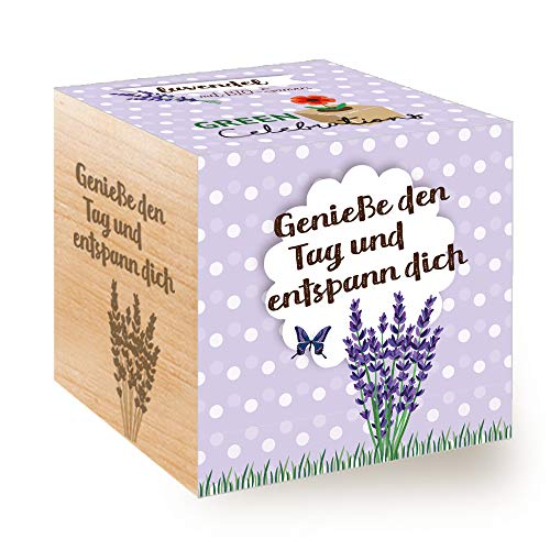 Feel Green Celebrations Ecocube, Lavendel Bio Samen, Holzwürfel Mit Lasergravur «Genieße Den Tag...