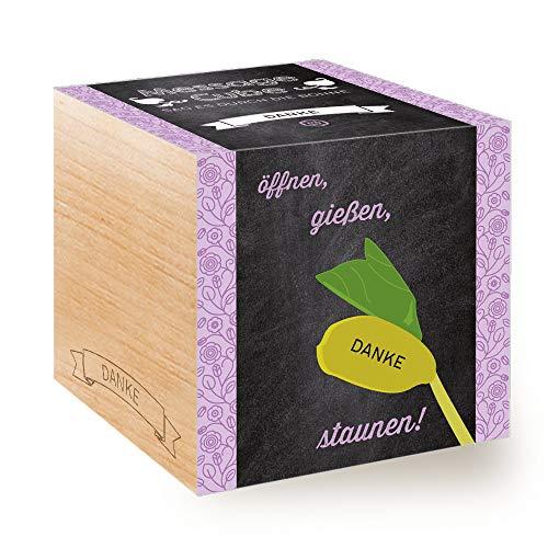Feel Green Message Cube, Holzwürfel Mit Lasergravierter Glücksbohne'Danke', Nachhaltige...