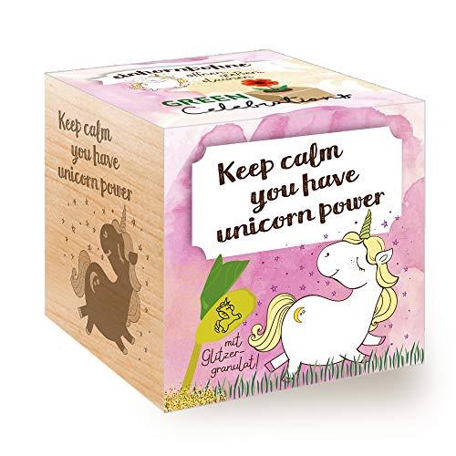 Feel Green Grow Your Own Einhornbohne, Holzwürfel Mit Lasergravur «Keep Calm, You Have Unicorn...