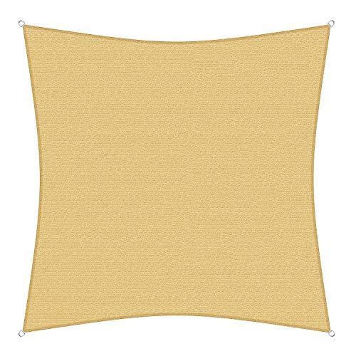 sunprotect 12009 Professional Sonnensegel, 4,5 x 4,5 m, Quadrat, Wind- & wasserdurchlässig, beige