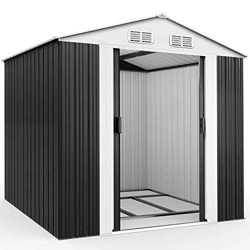 Deuba XXL Metall Gerätehaus 5m² mit Fundament 257x205x177,5cm Schiebetür Anthrazit...